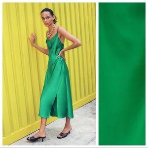 NWT. Zara Satin Lingerie Style Midi Dress Size XS.